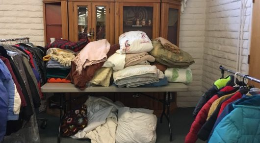 Coats and Blankets collected for service project.